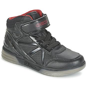 Shoes Fiú Magas szárú edzőcipők Geox ARGONAT BOY Fekete  / Piros