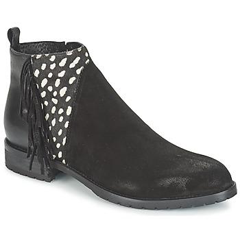 Cipők Női Csizmák Meline VELOURS NERO PLUME NERO Fekete  / Fehér
