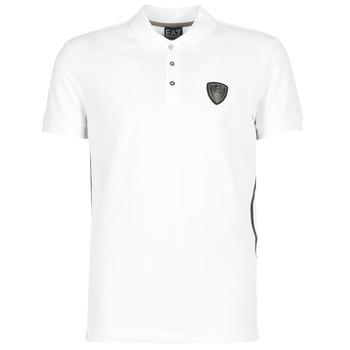 material Férfi Rövid ujjú galléros pólók Emporio Armani EA7 ONTRAFOL Fehér