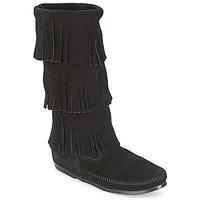 Cipők Női Városi csizmák Minnetonka CALF HI 3 LAYER FRINGE BOOT Fekete