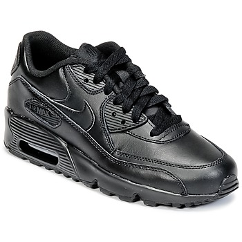 Shoes Gyerek Rövid szárú edzőcipők Nike AIR MAX 90 LEATHER GRADE SCHOOL Fekete