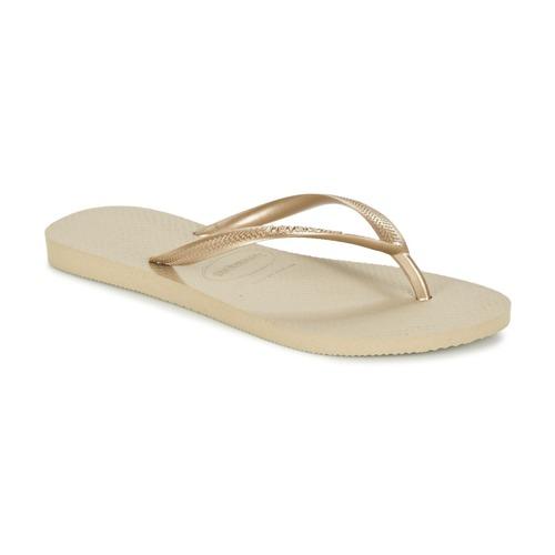 Cipők Női Lábujjközös papucsok Havaianas SLIM Arany