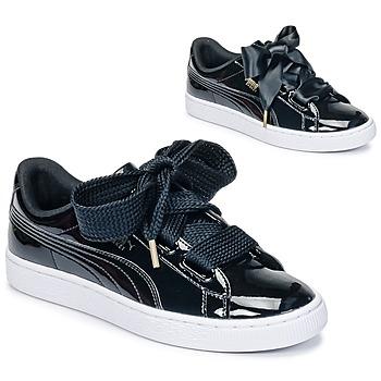 Cipők Női Rövid szárú edzőcipők Puma BASKET HEART PATENT WN'S Fekete  / Lakkozott