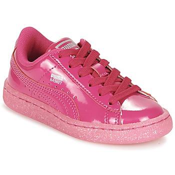 Cipők Lány Rövid szárú edzőcipők Puma BASKET PATENT ICED GLITTER PS Rózsaszín