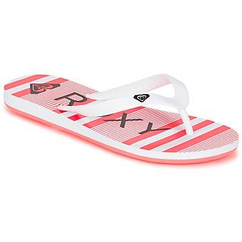Cipők Lány Lábujjközös papucsok Roxy RG TAHITI V G SNDL WBD Fehér / Fekete  / Rózsaszín