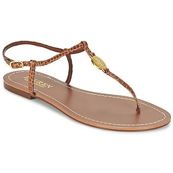 Shoes Női Lábujjközös papucsok Ralph Lauren AIMON SANDALS CASUAL Teve