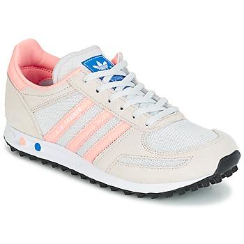 Cipők Gyerek Rövid szárú edzőcipők adidas Originals LA TRAINER J Fehér / Rózsaszín