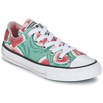 Shoes Lány Rövid szárú edzőcipők Converse CHUCK TAYLOR ALL STAR WATERMELON OX Zöld / Piros / Fehér