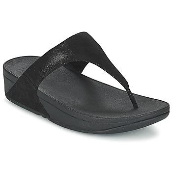 Cipők Női Lábujjközös papucsok FitFlop SHIMMY SUEDE TOE-POST Fekete