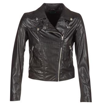 Ruhák Női Bőrkabátok / műbőr kabátok Benetton FAJOLI Fekete
