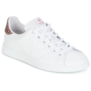 Cipők Női Rövid szárú edzőcipők Victoria DEPORTIVO BASKET PIEL Fehér / Rózsaszín / Fényes