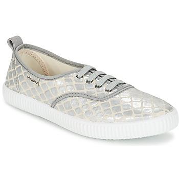 Cipők Női Rövid szárú edzőcipők Victoria INGLES TEJ PLACA SERPIENTE Ezüst