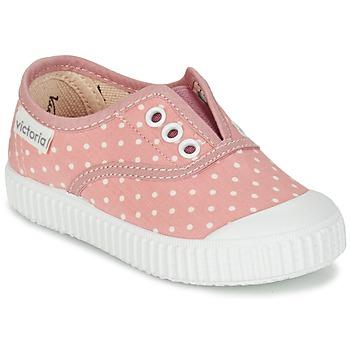 Cipők Lány Rövid szárú edzőcipők Victoria INGLESA LUNARES ELASTICO Rózsaszín / Fehér