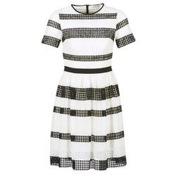 Ruhák Női Rövid ruhák MICHAEL Michael Kors GRAPHIC CR STRIPE DRS Fekete  / Fehér