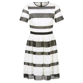 material Női Rövid ruhák MICHAEL Michael Kors GRAPHIC CR STRIPE DRS Fekete  / Fehér