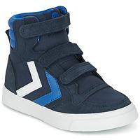Shoes Gyerek Magas szárú edzőcipők Hummel STADIL CANVAS HIGH JR Kék / Fehér