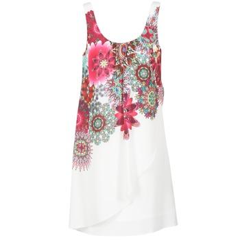 material Női Rövid ruhák Desigual LIORASA Fehér / Piros / Rózsaszín
