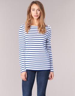 material Női Hosszú ujjú pólók Petit Bateau FIX Fehér / Kék