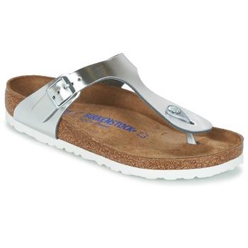 Cipők Női Lábujjközös papucsok Birkenstock GIZEH SFB Ezüst