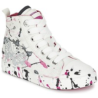 Cipők Lány Magas szárú edzőcipők Geox J CIAK G. C Fehér / Rózsaszín