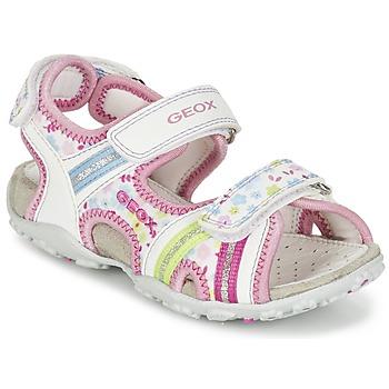 Cipők Lány Sportszandálok Geox J S.ROXANNE A Fehér / Rózsaszín