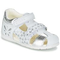 Shoes Lány Szandálok / Saruk Geox B KAYTAN G. C Fehér / Ezüst