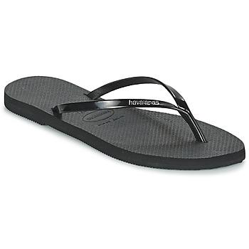 Cipők Női Lábujjközös papucsok Havaianas YOU METALLIC Fekete