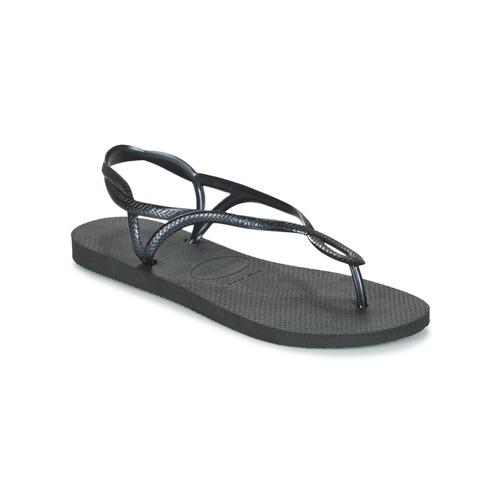 Cipők Női Lábujjközös papucsok Havaianas LUNA Fekete