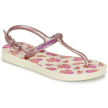 Cipők Lány Lábujjközös papucsok Havaianas KIDS FREEDOM PRINT Bézs / Rózsaszín