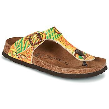 Cipők Női Lábujjközös papucsok Papillio GIZEH Citromsárga / Zöld