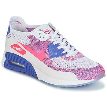 Shoes Női Rövid szárú edzőcipők Nike AIR MAX 90 FLYKNIT ULTRA 2.0 W Fehér / Kék / Rózsaszín