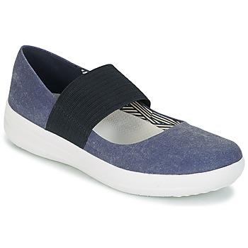Cipők Női Balerina cipők / babák FitFlop FSPORTY MARY JANE CANVAS Éjfél / Sötétkék