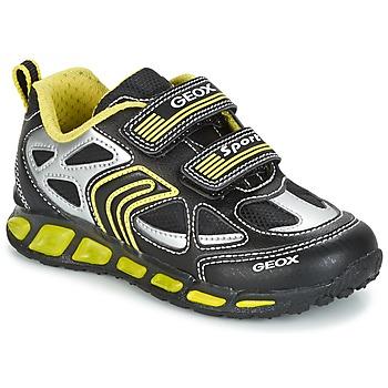 Cipők Fiú Rövid szárú edzőcipők Geox J SHUTTLE B. A Fekete  / Citromsárga