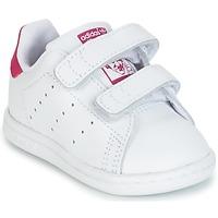 Cipők Lány Rövid szárú edzőcipők adidas Originals STAN SMITH CF I Fehér / Rózsaszín