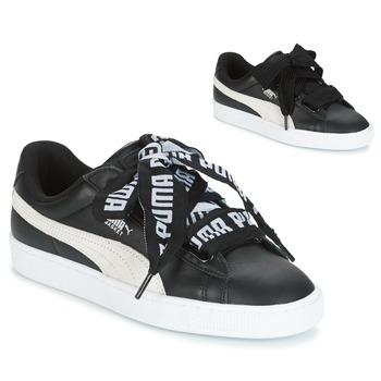 Cipők Női Rövid szárú edzőcipők Puma Basket Heart DE Fekete  / Fehér