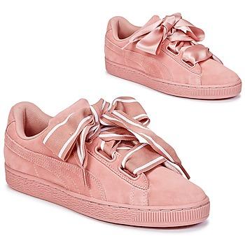 Cipők Női Rövid szárú edzőcipők Puma Basket Heart Satin Rózsaszín