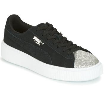 Cipők Női Rövid szárú edzőcipők Puma SUEDE PLATFORM GLAM JR Fekete  / Ezüst
