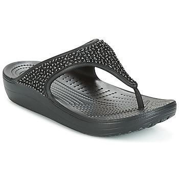 Cipők Női Lábujjközös papucsok Crocs SLOANE Fekete