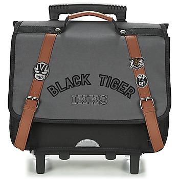 Táskák Fiú Táskák / Gurulós táskák Ikks BLACK TIGER CARTABLE TROLLEY 38CM Szürke / Fekete