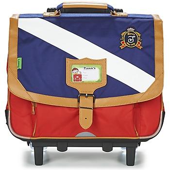 Táskák Fiú Táskák / Gurulós táskák Tann's LES BONS ENFANTS POLO TROLLEY CARTABLE 38CM Kék / Piros