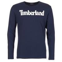 Ruhák Férfi Hosszú ujjú pólók Timberland LINEAR LOGO PRINT RINGER Tengerész