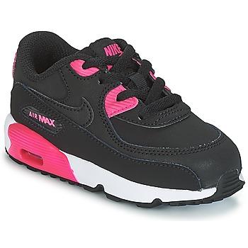 Cipők Lány Rövid szárú edzőcipők Nike AIR MAX 90 LEATHER TODDLER Fekete  / Rózsaszín