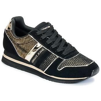 Cipők Női Rövid szárú edzőcipők Versace Jeans LETRE Fekete  / Arany