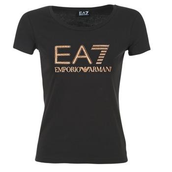 Ruhák Női Rövid ujjú pólók Emporio Armani EA7 TRAIN LOGO SERIES GLITTER Fekete  / Arany / Rózsaszín