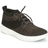 Cipők Női Magas szárú edzőcipők FitFlop UBERKNIT SLIP-ON HIGH TOP SNEAKER Fekete  / Bronz