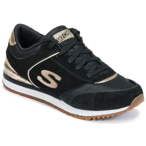Cipők Női Rövid szárú edzőcipők Skechers SUNLITE Fekete  / Arany