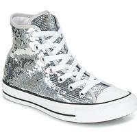Cipők Női Magas szárú edzőcipők Converse CHUCK TAYLOR ALL STAR SEQUINS HI SILVER/WHITE/BLACK Ezüst