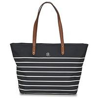 Táskák Női Bevásárló szatyrok / Bevásárló táskák Lauren Ralph Lauren BAINBRIDGE TOTE Fekete  / Fehér