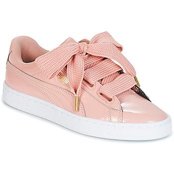 Cipők Női Rövid szárú edzőcipők Puma BASKET HEART PATENT W'S Rózsaszín