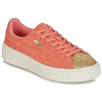 Cipők Lány Rövid szárú edzőcipők Puma SUEDE PLATFORM GLAM JR Narancssárga / Arany